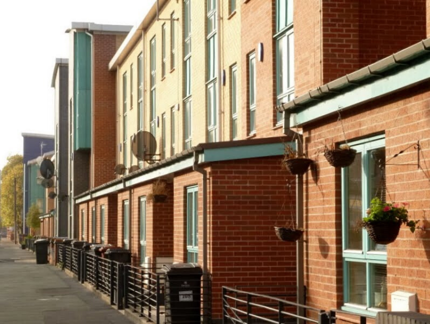 A street with council flats