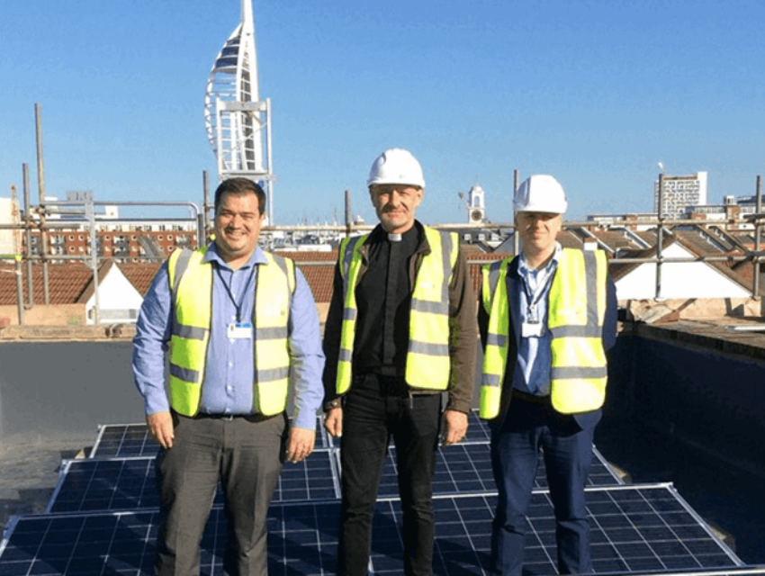 Solar PV on the roof of Portsmouth Cathedral